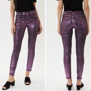 🆕 Freya Pink/Purple Metallic Foil Coated Jeans